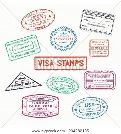 Set of isolated visa passport stamps of arriving london in united kingdom, Moscow city in Russia, United states or USA, New Zealand and India, Korea, Malaysia. Tourism, travel, airport theme