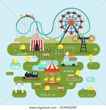 Circus or amusement park map with roller coaster and ferris wheel, ice cream car and train, merry go round, Children or kid holiday place with carousels and attraction. Family leisure theme