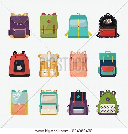 Set of kid rucksack or children bag, people handbag or boysatchel, girl knapsack or voyage backpack for expedition. Baggage or luggage for school or college. Trip or education theme
