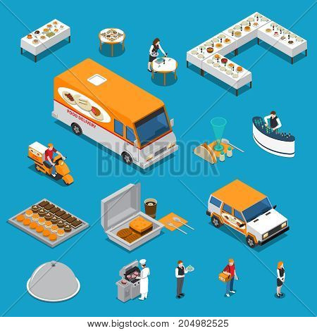 Catering set of isometric icons with chef and waiters, eating on tables, food delivery isolated vector illustration