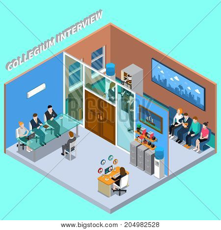 Colored recruitment hiring HR management isometric people composition with collegium interview scene vector illustration