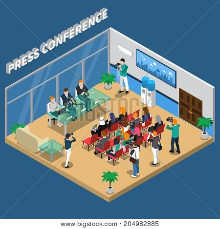 Press conference isometric composition with speakers and auditorium, video and photo shooting on blue background vector illustration