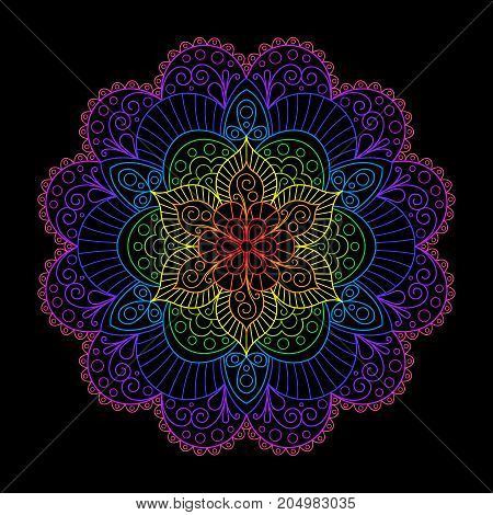 Decorative Element Rainbow Mandala on Black Background. Bright Colorful Oriental Contour Circular Ornament. Lacy Iridescent Mandala for Design of Cloth Fabric Textile Tissue.