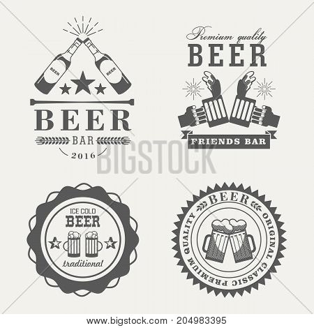Old or vintage beer emblem or signs, alcohol retro labels with glassware bottle and mug, brewery logo or badge, beverage traditional or classic insignia. Pub and bar, restaurant theme