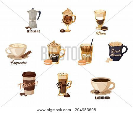 Set of isolated coffee banners for cafe or restaurant, bistro or shop, store or bar. Latte and hot mocha, cappuccino and glace, fredo with cream and americano in cup, espresso. Takeaway theme