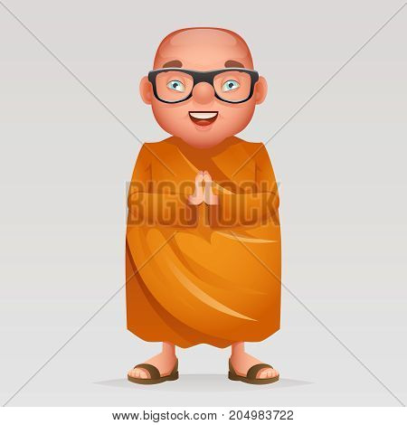 Cute buddhist monk traditional asian buddhist culture religion cartoon 3d realistic design character vector illustration