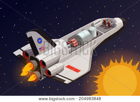Astronauts in spaceship isometric composition with extraterrestrial space background sun and man-rated space vehicle vector illustration