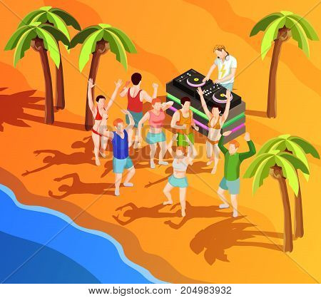 Group of people dancing at beach party with dj 3d isometric vector illustration
