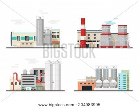 Heavy industry power and chemical plants. Power stations of factory for producing electricity. Buildings or constructions with pipes and chimney. Production spoiling environment. Architecture theme