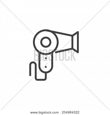 Hair dryer line icon, outline vector sign, linear style pictogram isolated on white. Symbol, logo illustration. Editable stroke