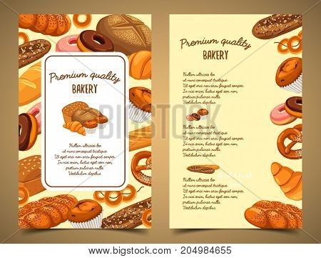 Bakery food or bread loaf, baguette or baton, rye pastry banner. Butterbrot bread and baton, french croissant and cereal anadama, cake with raisins and grain, donut. Bakehouse or shop theme