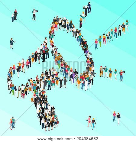 Colored crowd people isometric megaphone with large number of people combined in big megaphone vector illustration