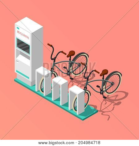Isometric composition with electronic bicycle renting station on pink background 3d vector illustration