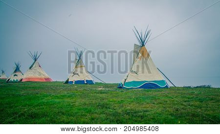 Row of Teepees in the Gaspe Quebec