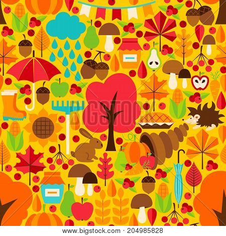 Autumn Season Seamless Pattern. Vector Background. Fall Seasonal Texture.