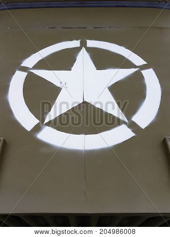Military Star On The Bonnet Car Of The Liberation By The Us Army And The End Of The Second World War