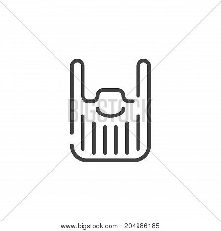 Beard line icon, outline vector sign, linear style pictogram isolated on white. Symbol, logo illustration. Editable stroke