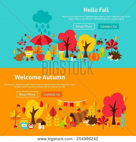 Autumn Website Banners. Stock Vector Illustration of Fall Seasonal Concept.