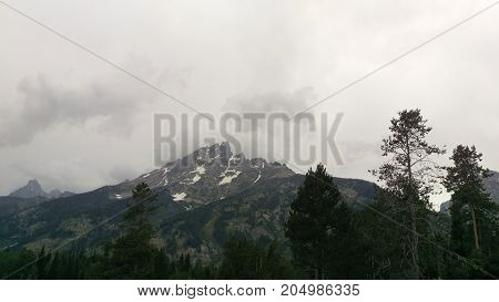 A storm brewing over the Teton Peaks in Grand Tetons National Park.