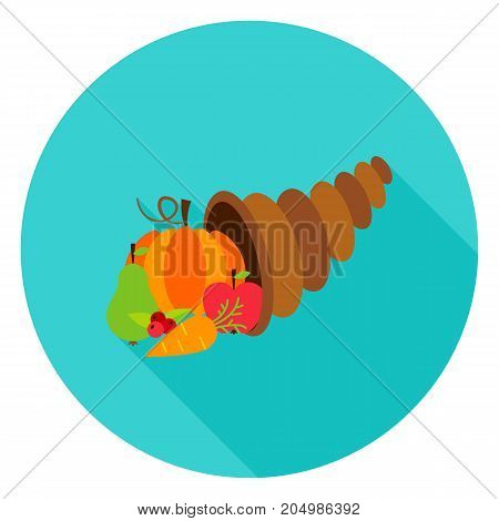 Cornucopia Circle Icon. Vector Illustration. Fall Seasonal Harvest. Horn of Plenty.