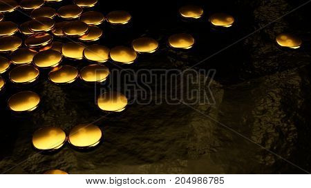 Gold Coins, Metal Discs, 3D Rendering, Black Background