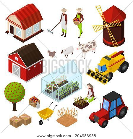 Organic farming products isometric icons set with isolated images of agrimotors buildings farm animals and plants vector illustration