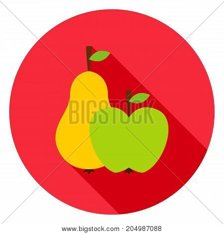 Fruits Circle Icon. Vector Illustration. Pear and Apple.