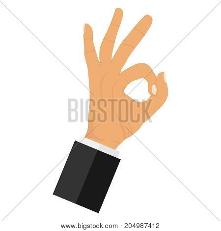 OK hand gesture. The sign is OK. Flat design vector illustration vector.
