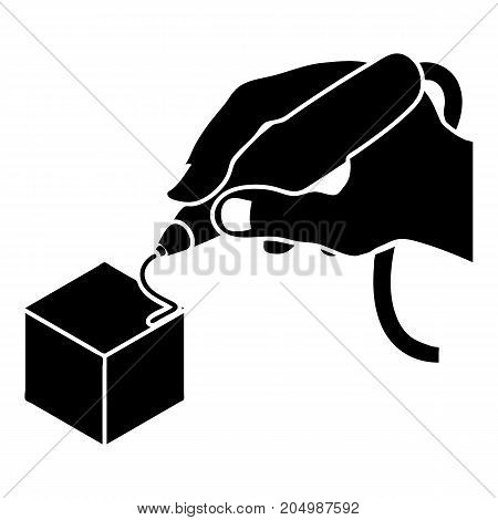 D hand printing icon. Simple illustration of d hand printing vector icon for web design isolated on white background