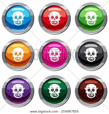 Living dead set icon isolated on white. 9 icon collection vector illustration