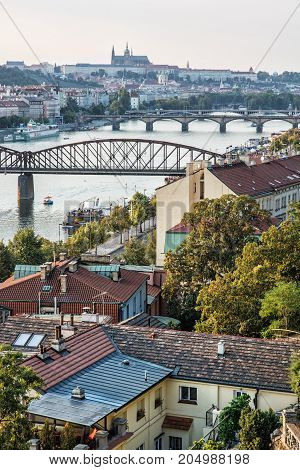 View from the Vysehrad to the castle and river Vltava with bridges Prague Czech republic. Travel destination. Vertical composition.