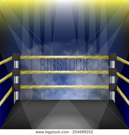 Professional Empty Boxing Ring with Ropes. Hand Drawn Cartoon of Sport Stadium with Spotlights