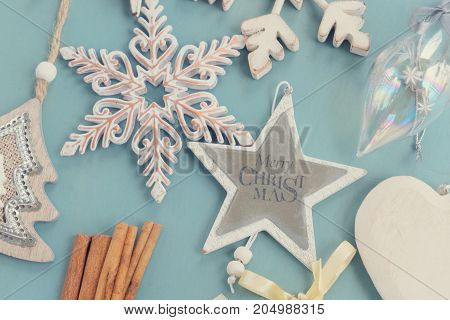 Blue and white christmas - styled christmas composition flat lay style close up, retro toned