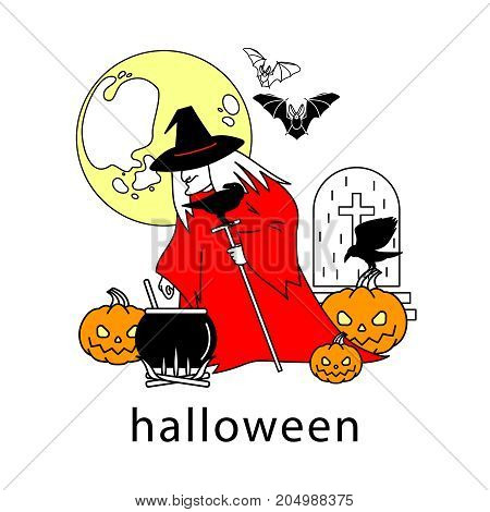 Halloween vector illustration. Witch, cauldron, pumpkin, full moon, bats, crows, tombstone on a white background.