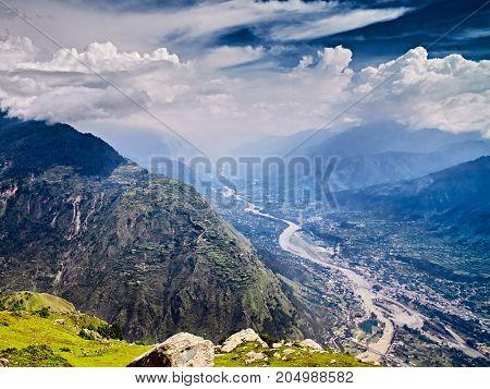 Aerial view of Kullu valley. Naggar Himachal Pradesh. North India.