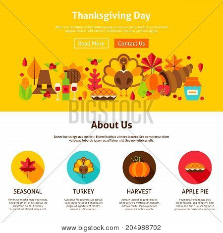Thanksgiving Day Website Design. Vector Illustration of Banner. Fall Seasonal Concept.