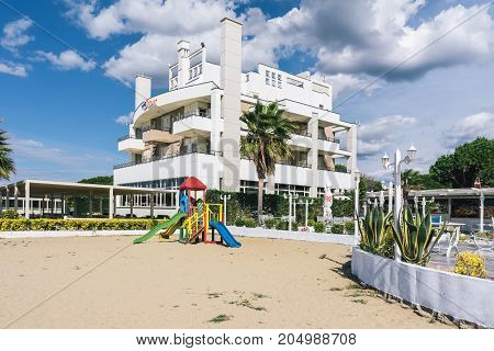ALBANIA GOLEM- September 21 2015: Children's playground near the hotel complex located on the Adriatic coast