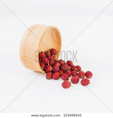 hawthorn fruit isolated on white background. Top view