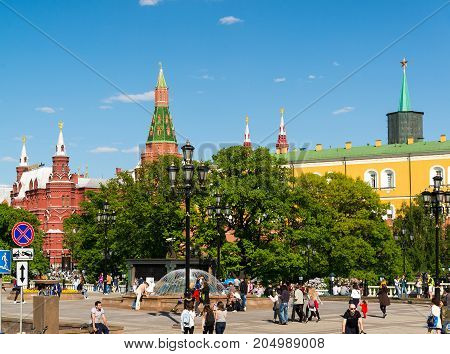 Moscow, Russia - May 14. 2016. View of the Kremlin from the Manezhnaya Square