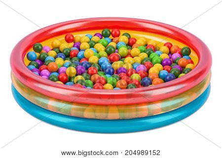 Children's ball pool with colored balls 3D rendering isolated on white background