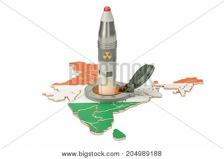 Indian missile launches from its underground silo launch facility 3D rendering