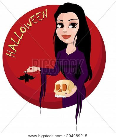 Happy Halloween party. Beautiful lady in gothic style wearing black long dress and holding skull and bat. Cartoon character for design of posters banners placards on October 31. Vector stock
