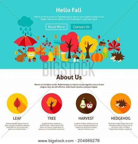 Web Design Hello Fall. Vector Illustration of Website Banner. Autumn Seasonal Concept.
