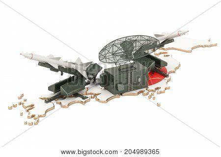 Japanese missile defence system concept 3D rendering