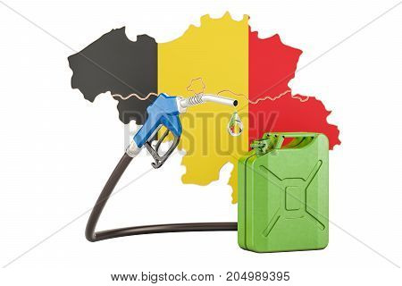 Production and trade of petrol in Belgium concept. 3D rendering isolated on white background