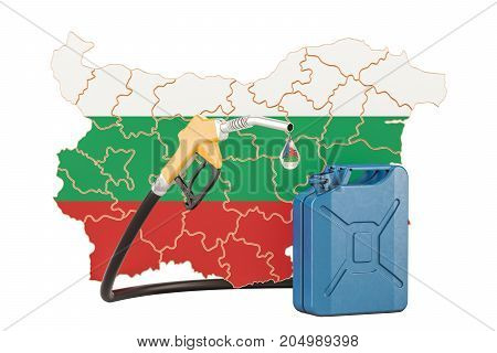 Production and trade of petrol in Bulgaria concept. 3D rendering isolated on white background
