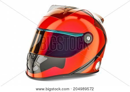 Red Racing Helmet 3D rendering isolated on white background