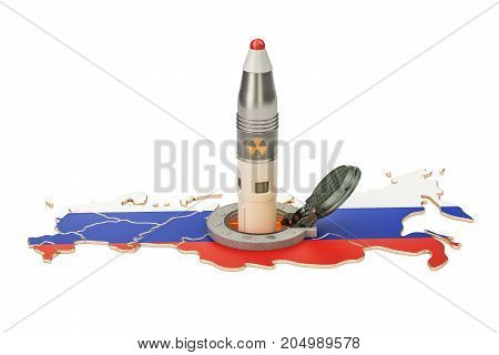 Russian missile launches from its underground silo launch facility 3D rendering