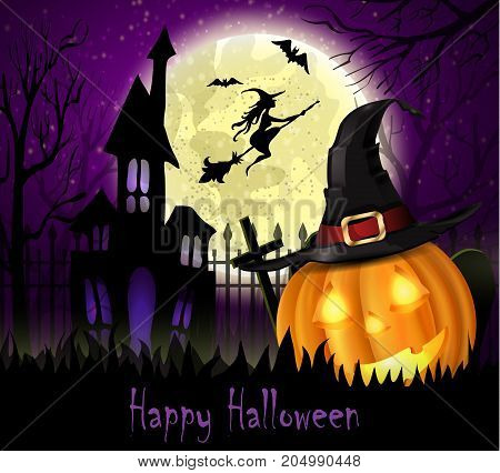 Halloween spooky background with moon fence haunted house witch bats and pumpkin. Vector