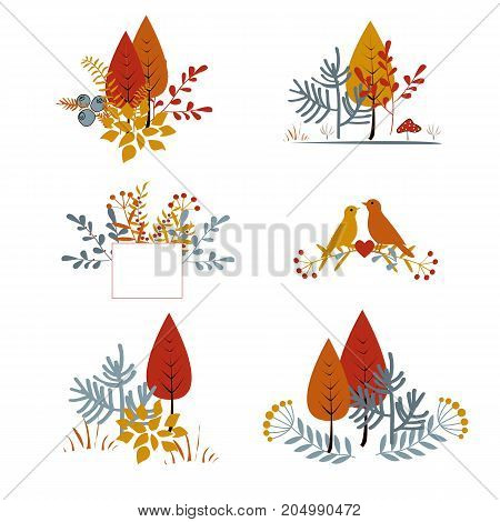 Set of autumnal floral cards with abstract leaves, trees, and birds. Autumn composition, vector collection